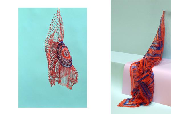 Daan Veerman heeft een 3D printer aangepast zodat hij met de hand objecten kan maken, zoals te zien is op de foto. Een sjaal in rood en paars gemaakt van 3D print. Op deze manier innoveert hij zowel ambacht als technologie. Door zijn werk kan er anders gekeken worden naar de rol van technologie in handwerk, ambacht. | Crafts Council Nederland